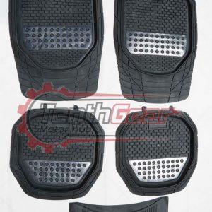 Black Silver Universal Floor Mats 5pcs